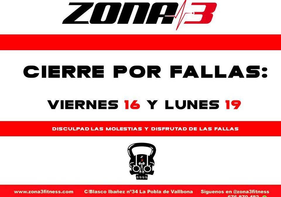 PROGRAMACIÓN FALLERAde Zona3 fitness